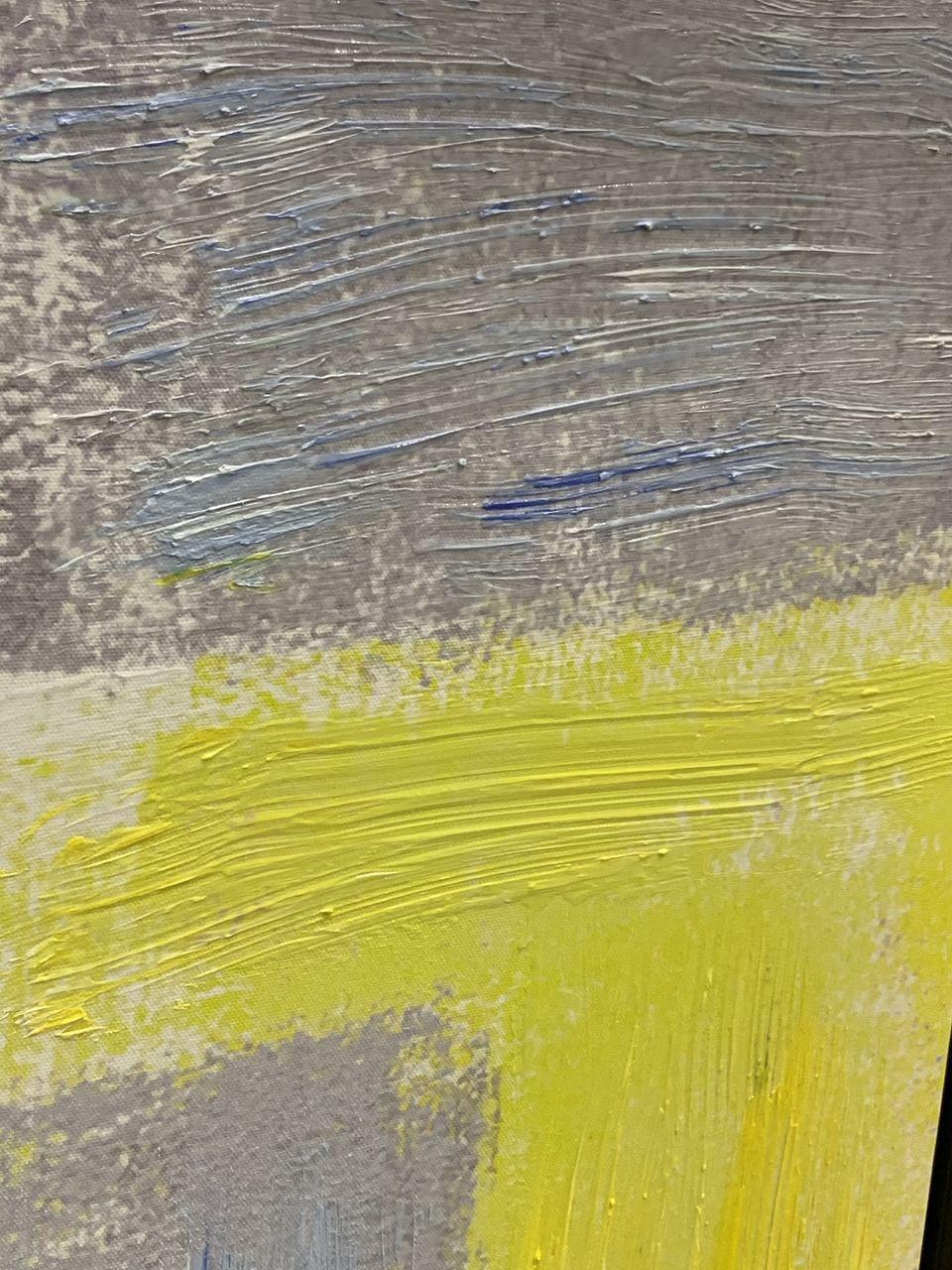 Quadro Decor Abstrato Tons Pincelados Amarelo