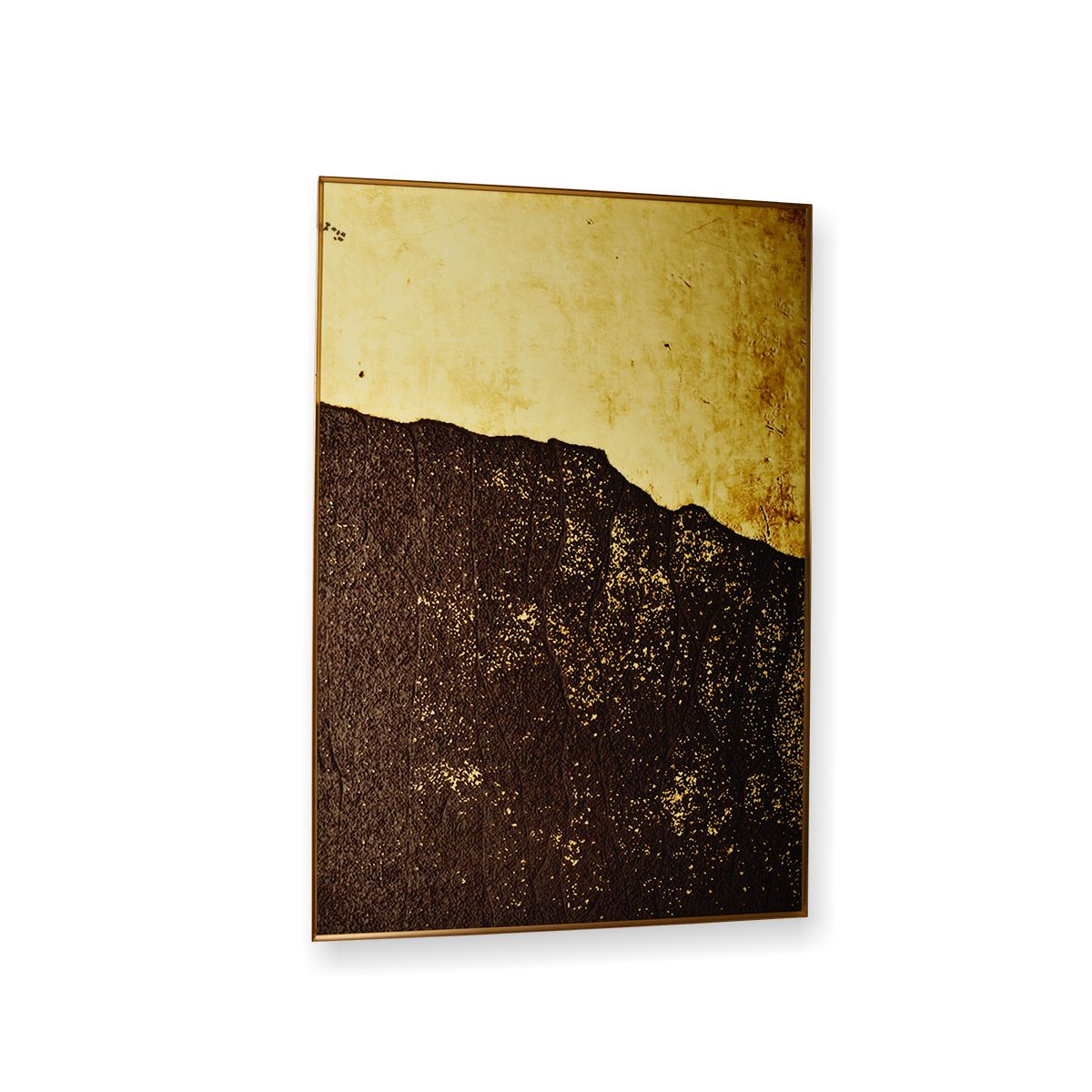 Quadro Decor Abstrato Montanha em Dourado e Preto