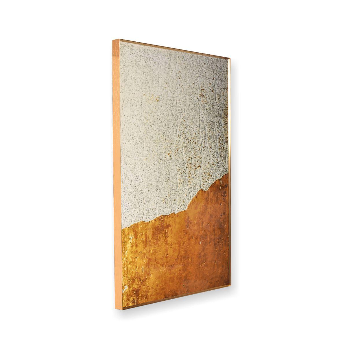Quadro Decor Abstrato Montanha em Dourado e Branco
