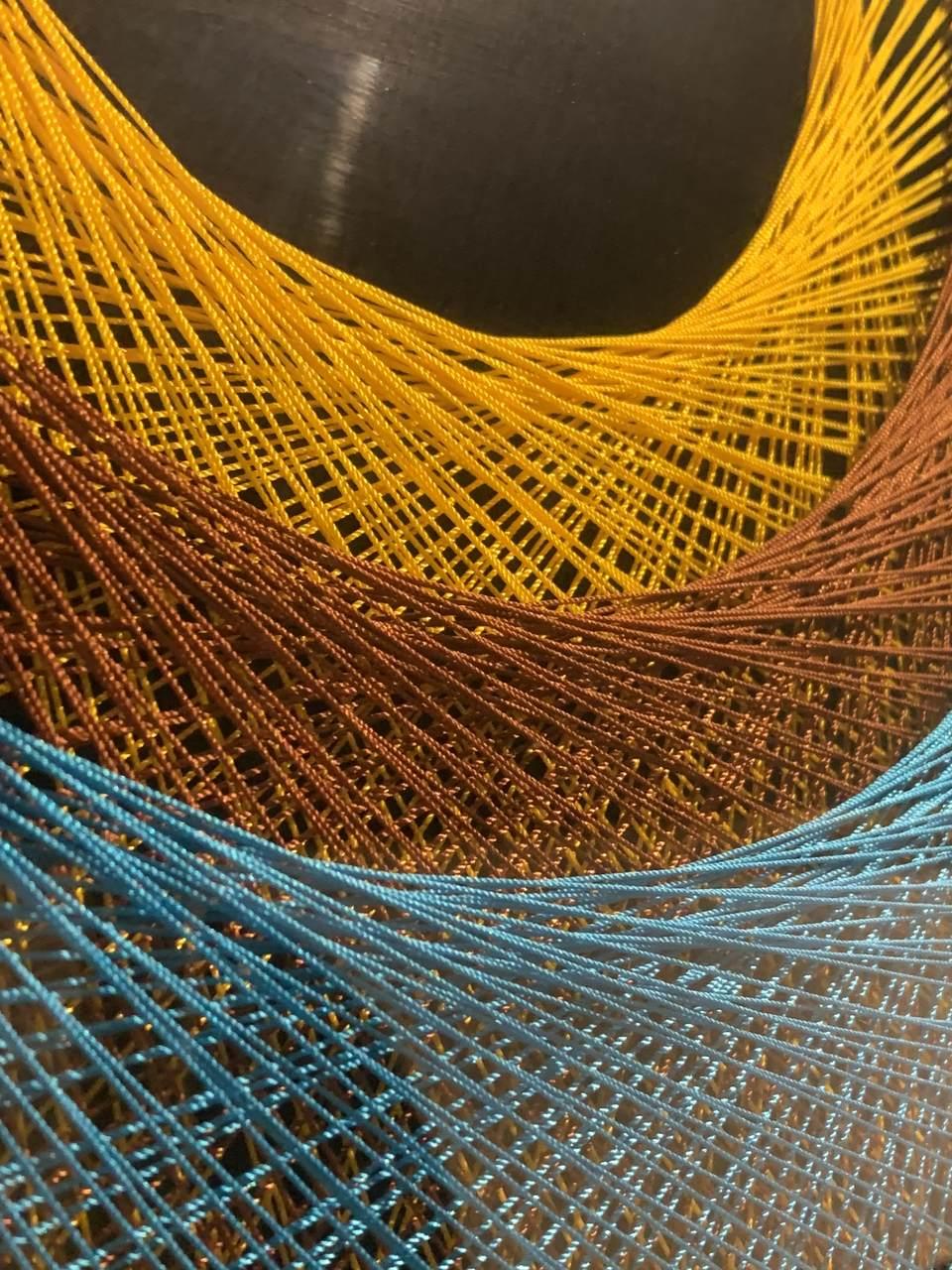 Quadro Decor Linha Cocar 3D Azul