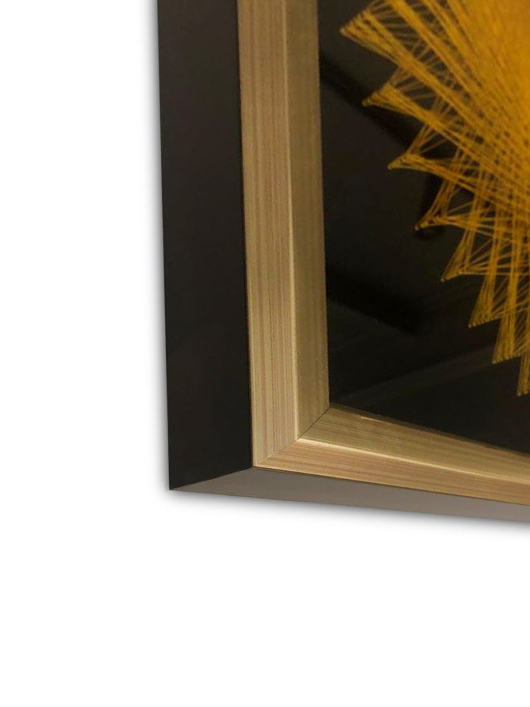 Quadro Decor Linhas Mandala 3D Amarela