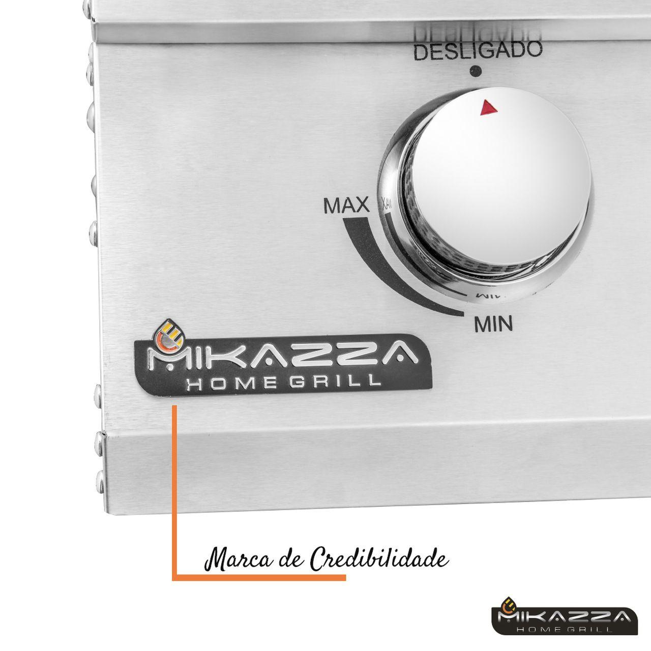 Churrasqueira à Gás Embutir Mikazza Pro 3 Combo + Capa Protetora + Espeto Giratório + Boné