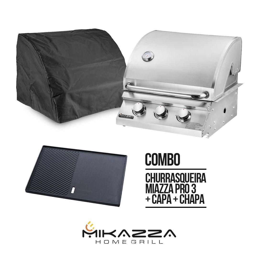 Churrasqueira à Gás Embutir Mikazza Pro 3 Combo + Chapa de Ferro Fundido + Capa Protetora