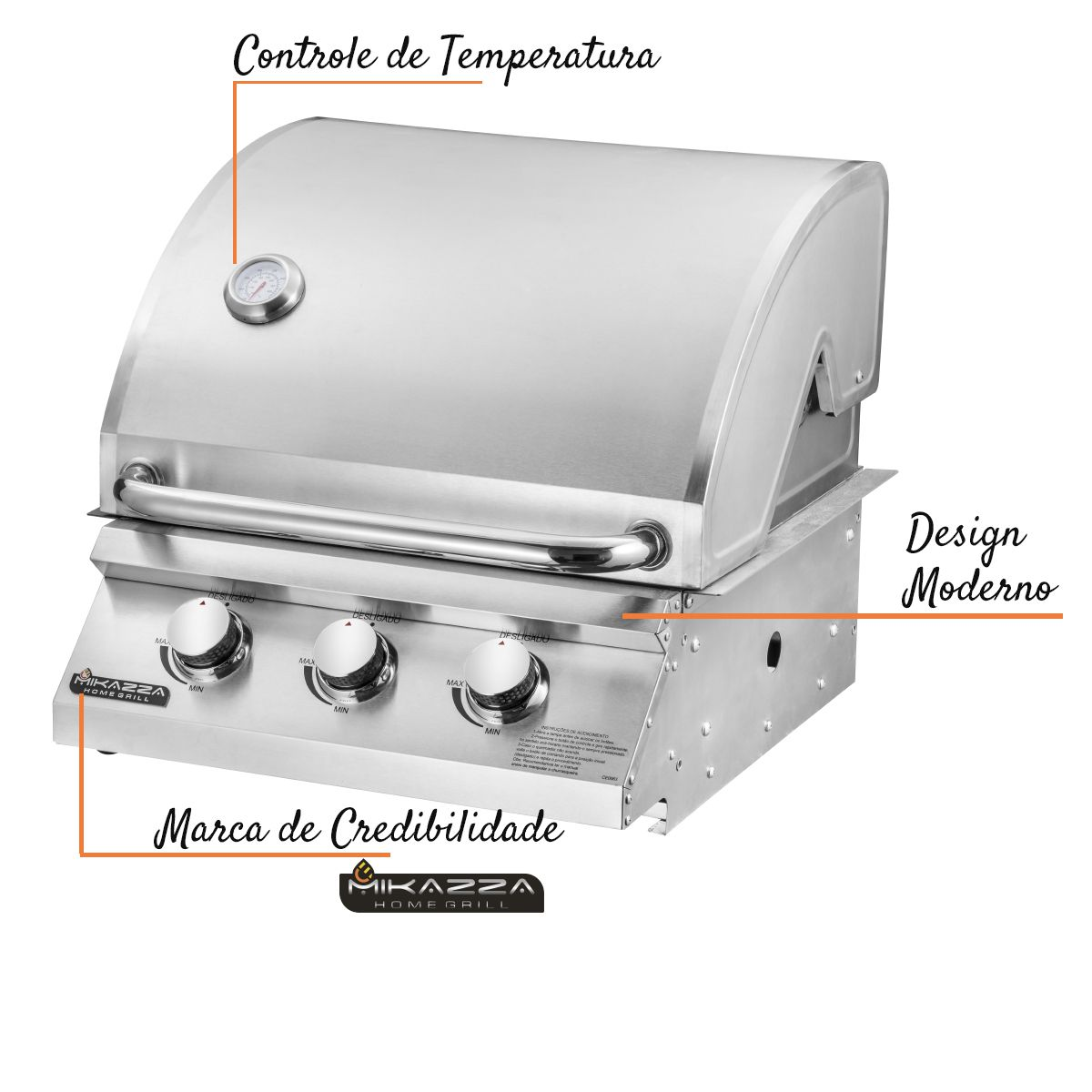 Churrasqueira à Gás Embutir Mikazza Pro 3 + Espeto Giratório