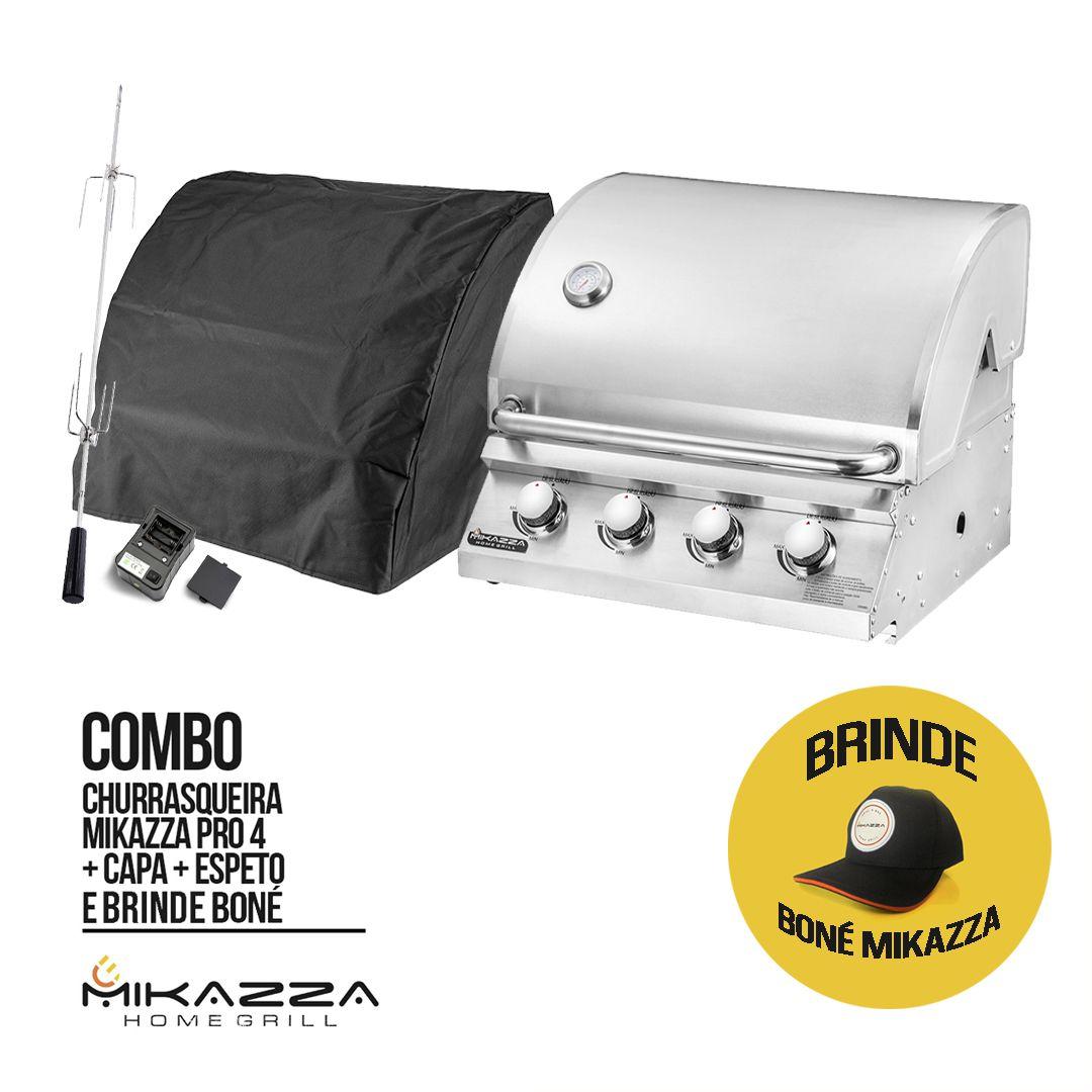 Churrasqueira à Gás Embutir Mikazza Pro 4 + Capa + Espeto + Boné