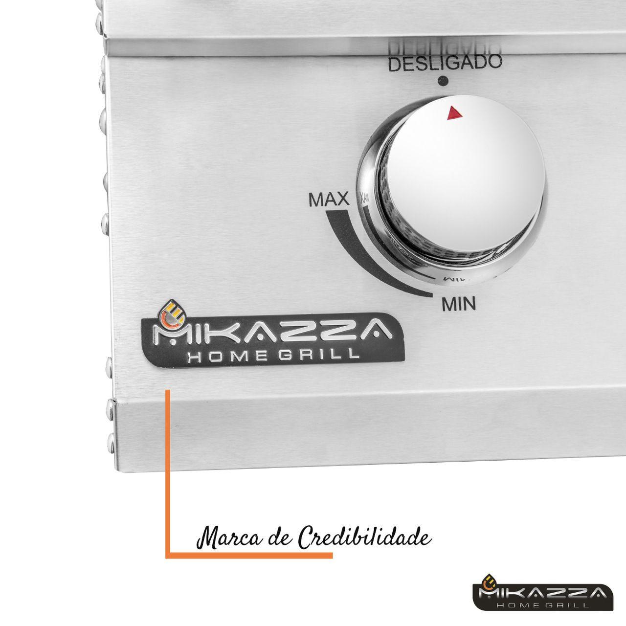 Churrasqueira à Gás Embutir Mikazza Pro 4 + Capa + Espeto + Tábua Tramontina