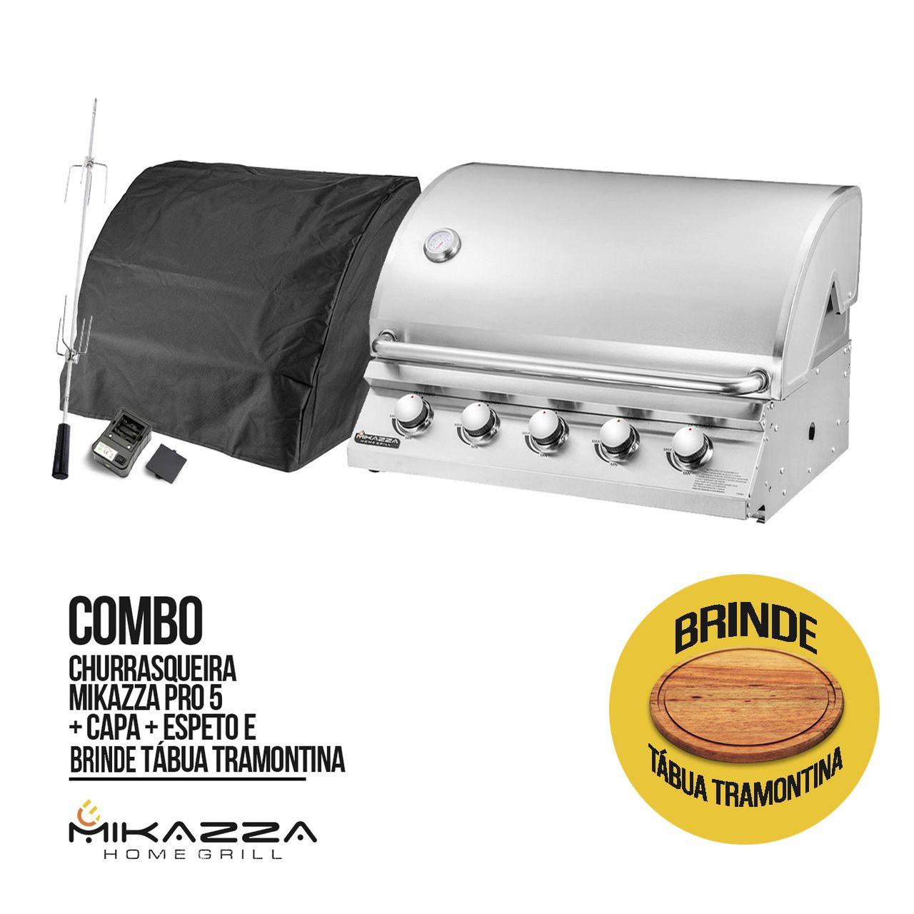Churrasqueira à Gás Embutir Mikazza Pro 5 + Capa + Espeto + Tábua Tramontina