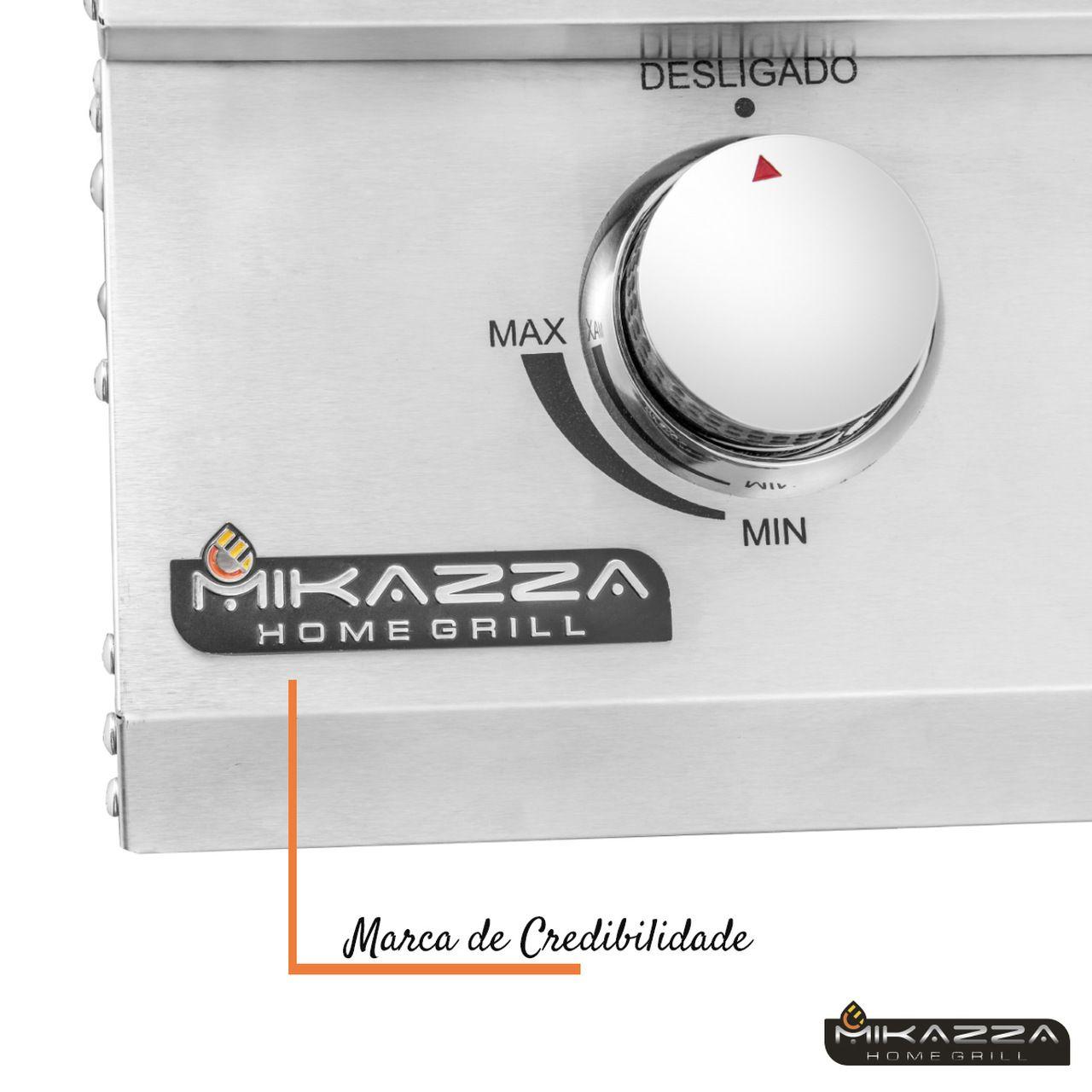 Churrasqueira à Gás Embutir Mikazza Pro 5  Combo + Chapa de Ferro Fundido + Capa Protetora