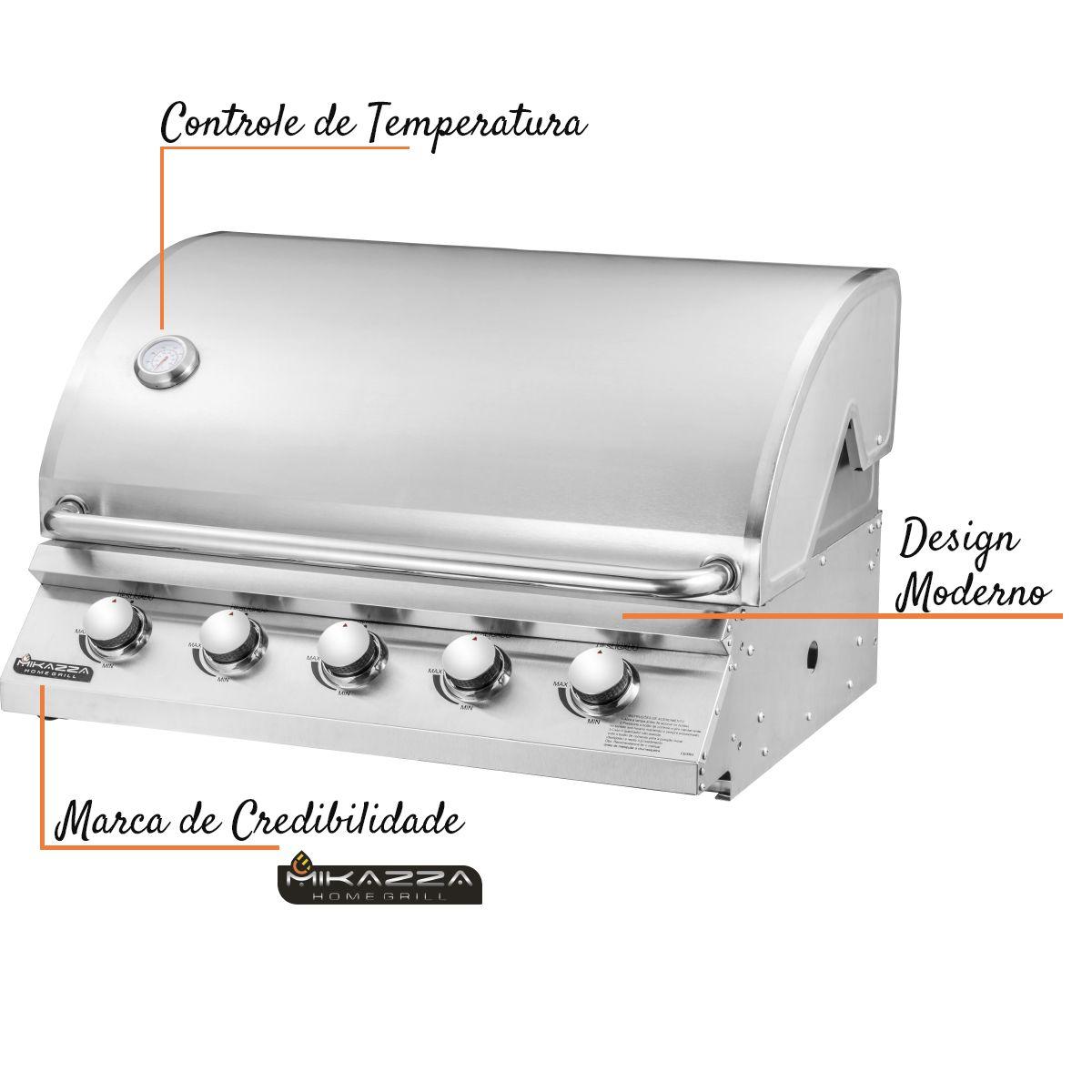 Churrasqueira à Gás Embutir Mikazza Pro 5 Combo + Chapa + Espeto Giratório + Tramontina