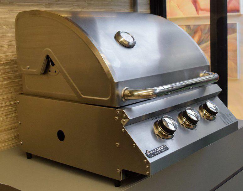Churrasqueira à Gás Mikazza Pro 3 Bancada Combo + Chapa de Ferro Fundido