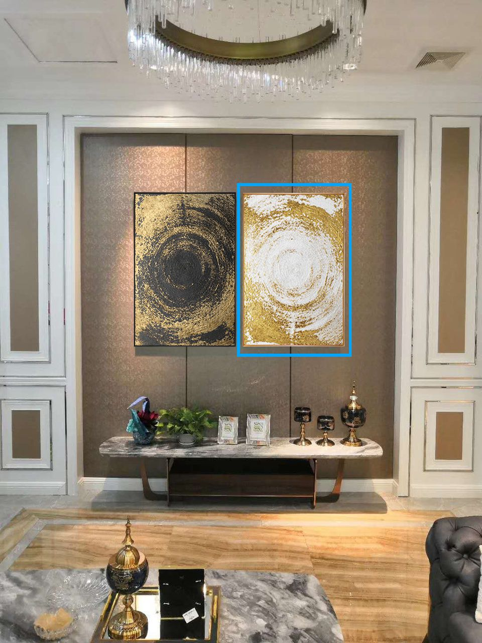 Quadro Decor Coleção Abstrato Espiral Dourado Branco
