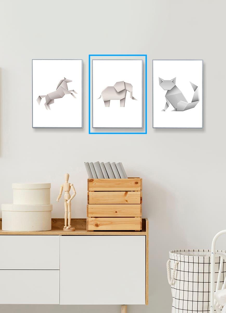 Quadro Decor Coleção Animais Origami Elefante