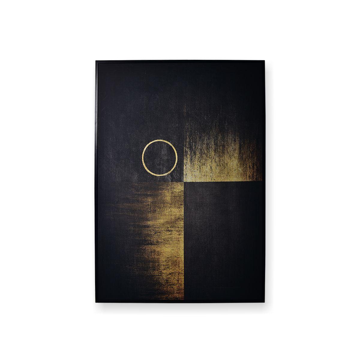 uadro Decor Abstrato Esquadro Dourado