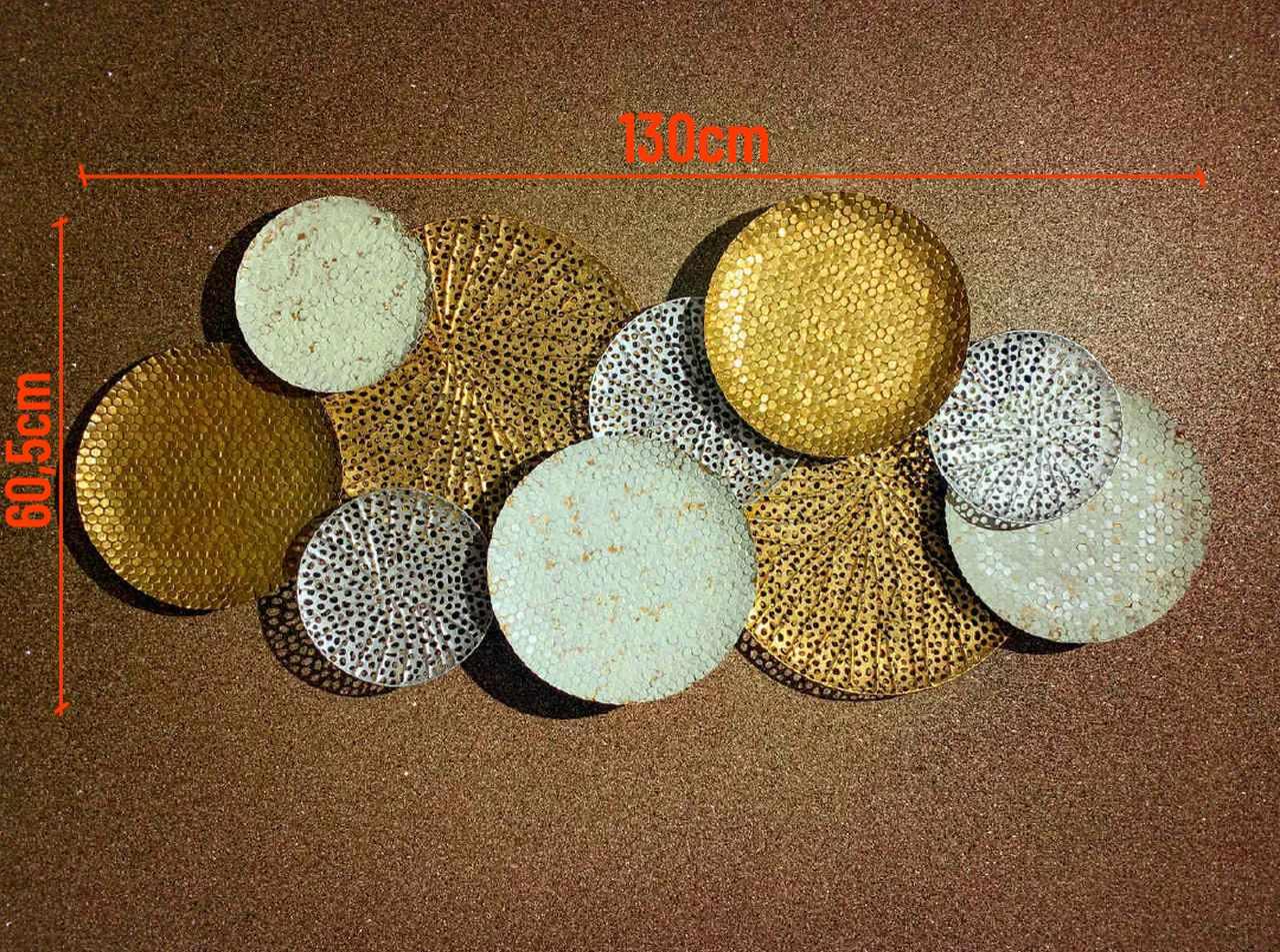 Escultura Decor  Discos em Tons Dourados