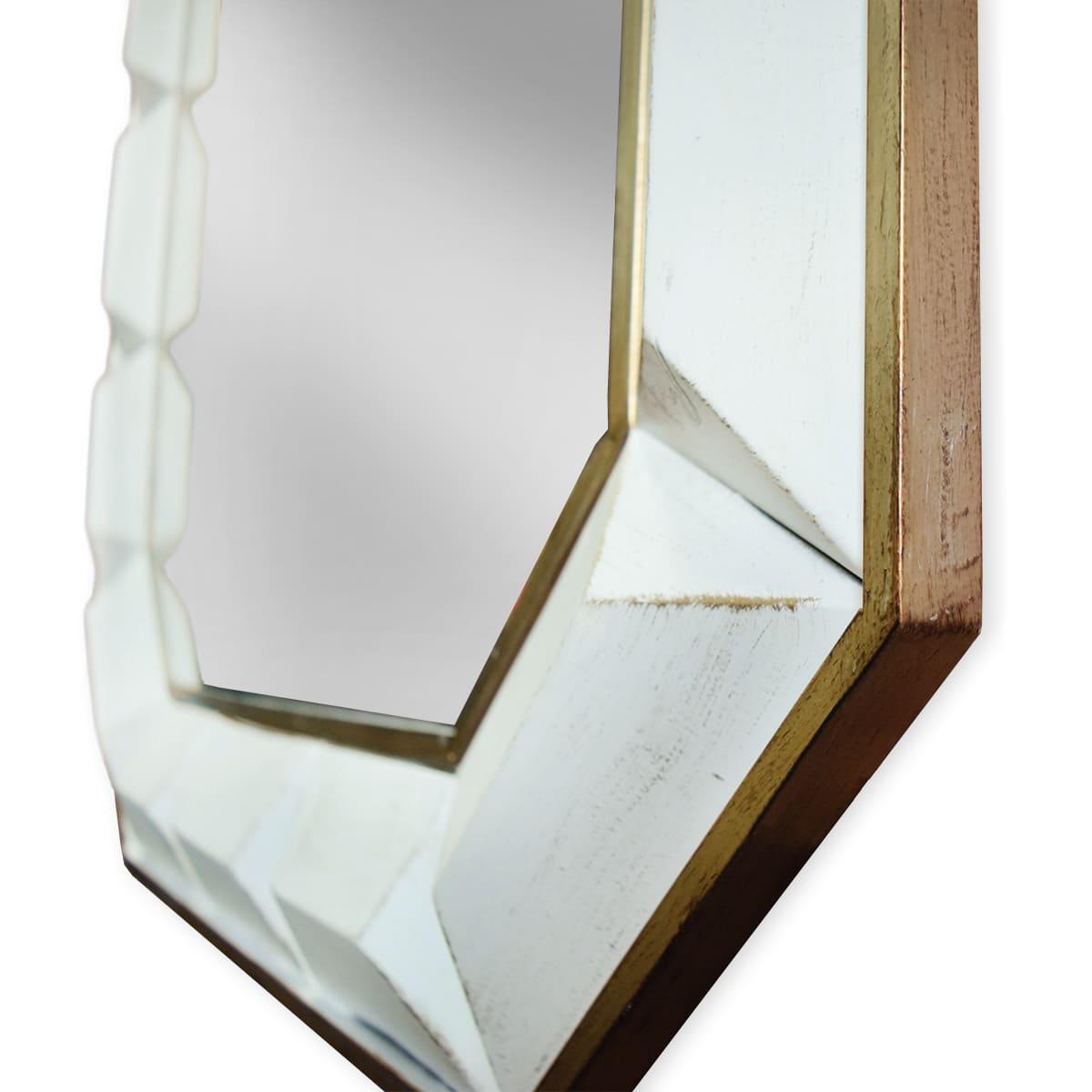 Espelho Antique Branco Octagonal