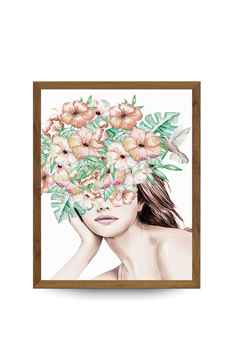 Quadro Decor Feminina Japonesa Floral 1