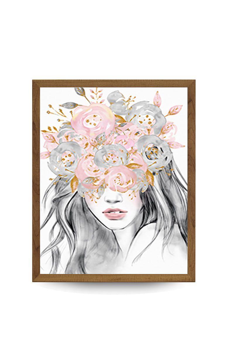 Quadro Decor Feminina Japonesa Floral 2