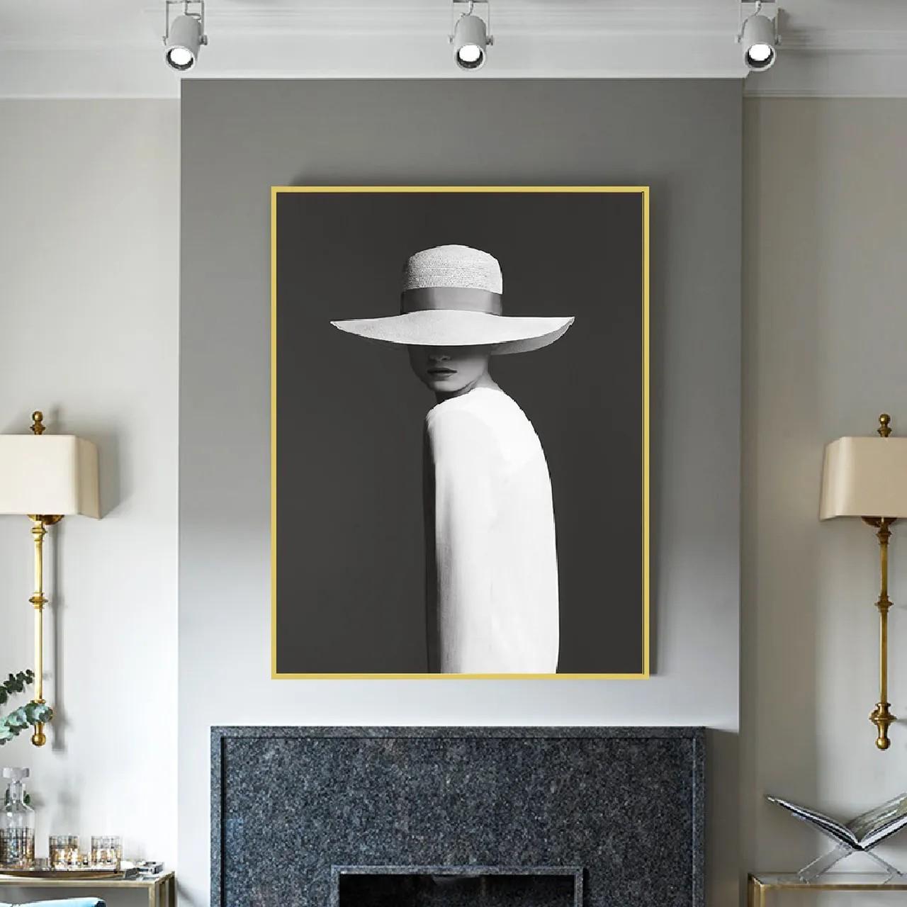 Quadro Decor A mulher e o Chapéu Branco
