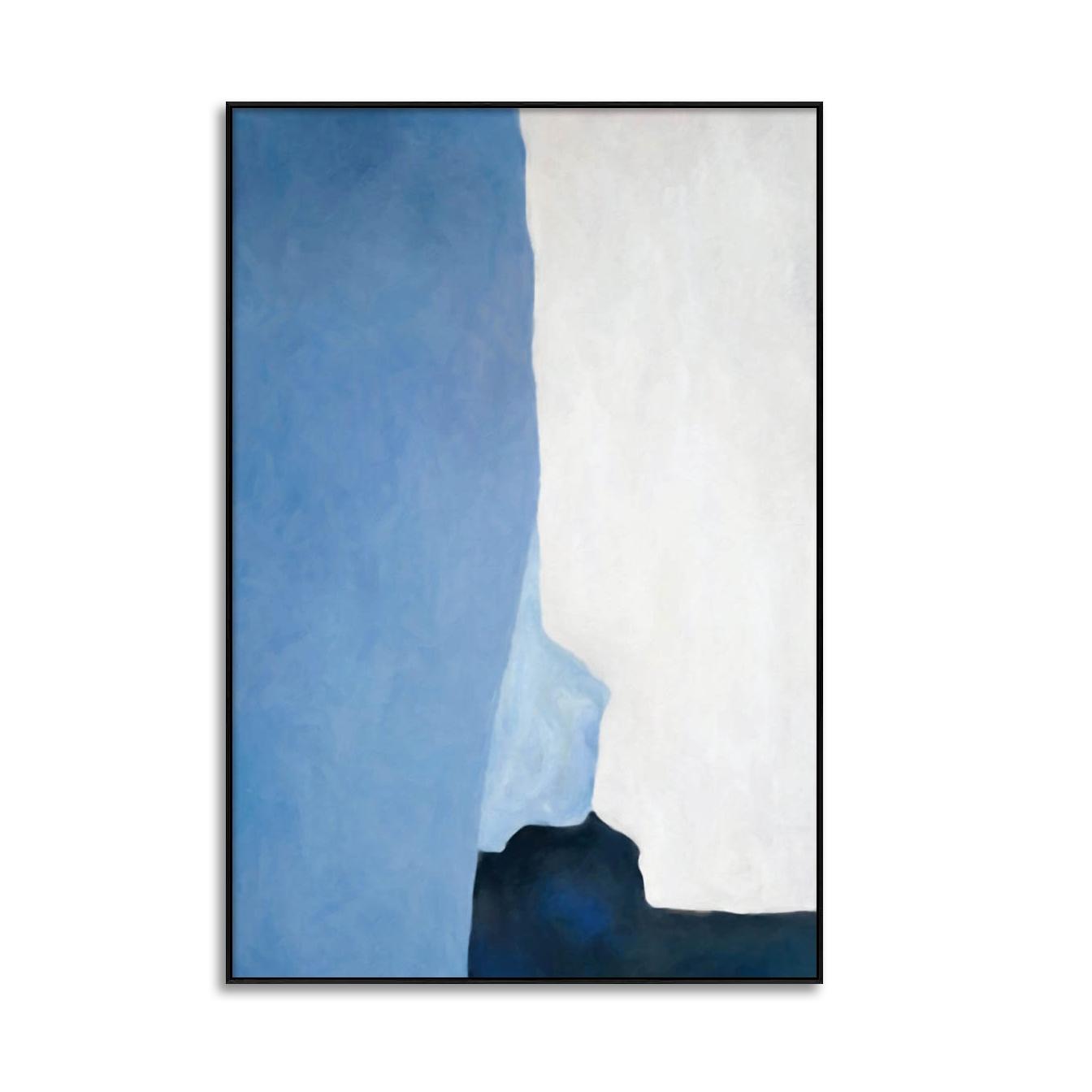 Quadro Decor Abstrato Azul e Branco 2