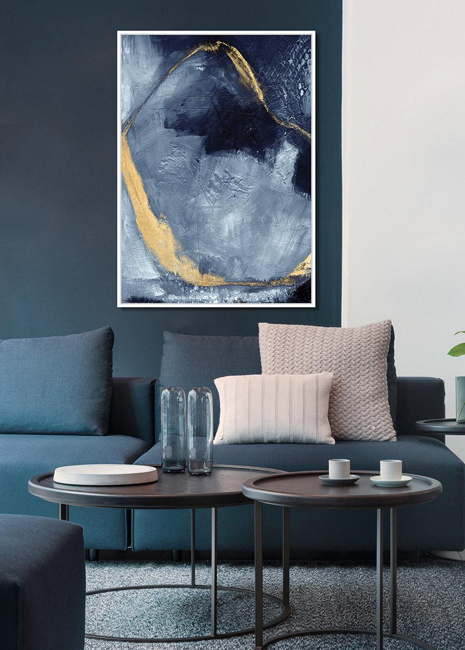 Quadro Decor Abstrato Reboco em tons azuis 1