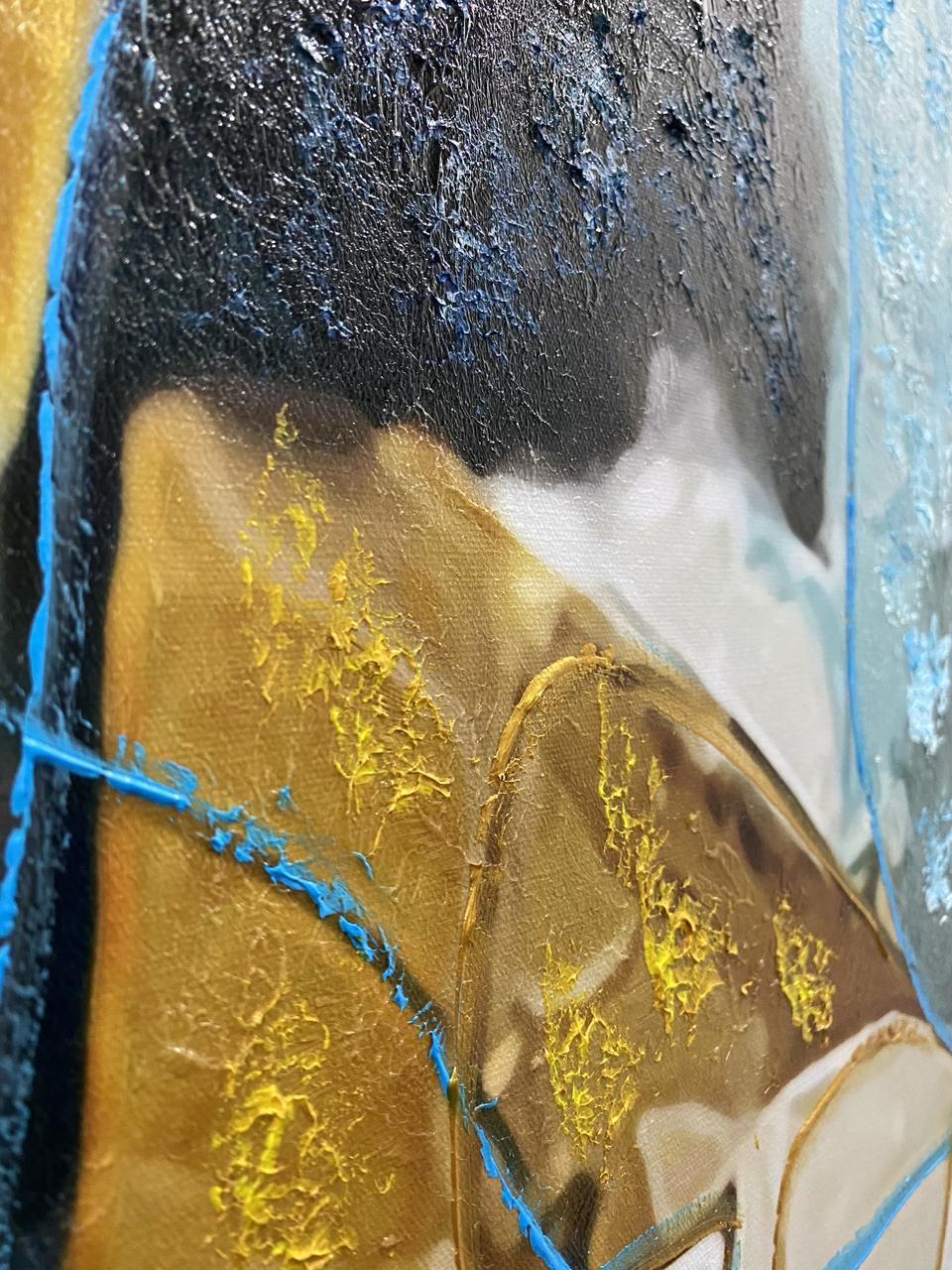 Quadro Decor Abstrato Retalhos Dourado e Azul