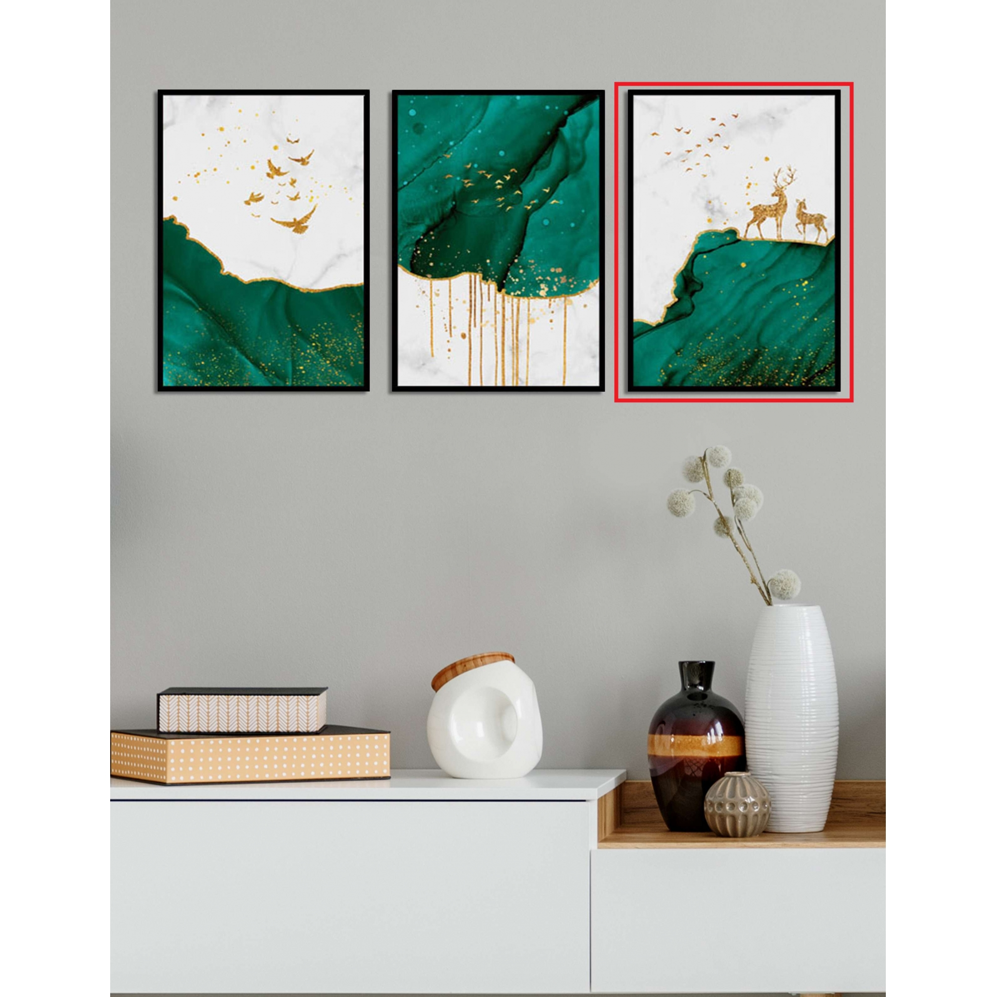 Quadro Decor Kit Verde Líquido C