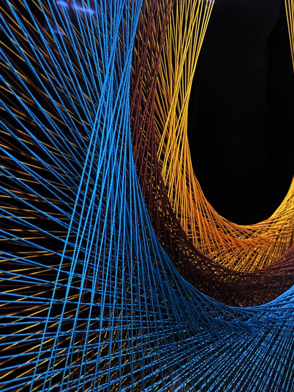 Quadro Decor Linha Cocar 3D Azul Mol Preta