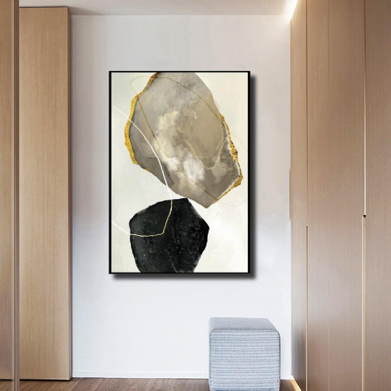 Quadro Decor Mineral Preto e Branco 2