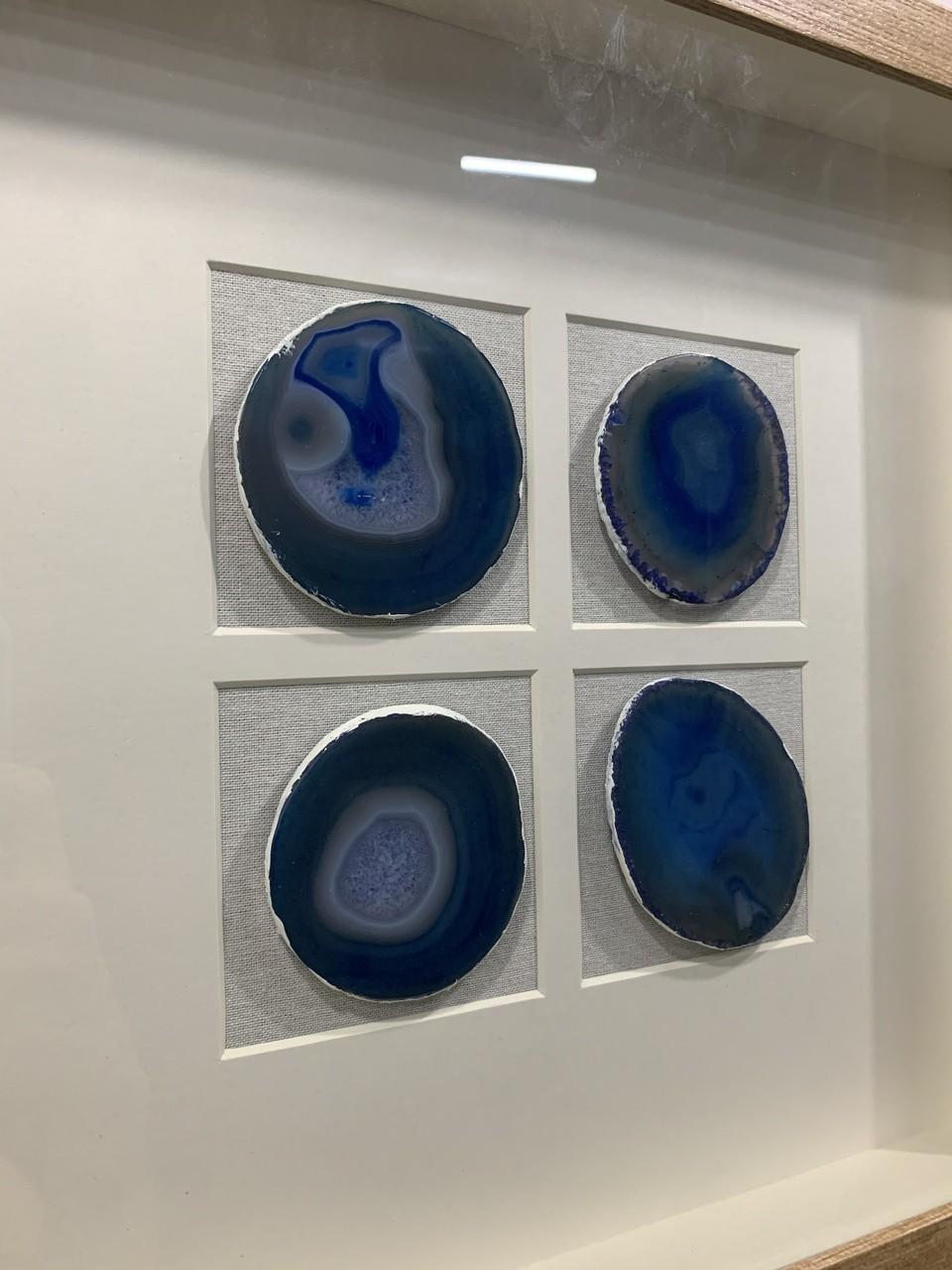 Quadro Decor Minimalista Quarteto em Pedras Ágata Azul