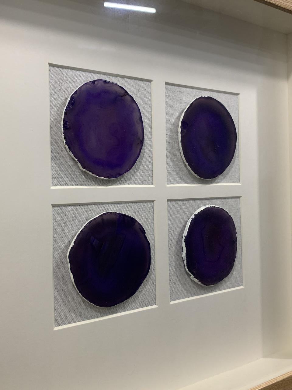 Quadro Decor Minimalista Quarteto em Pedras Ágata Roxo