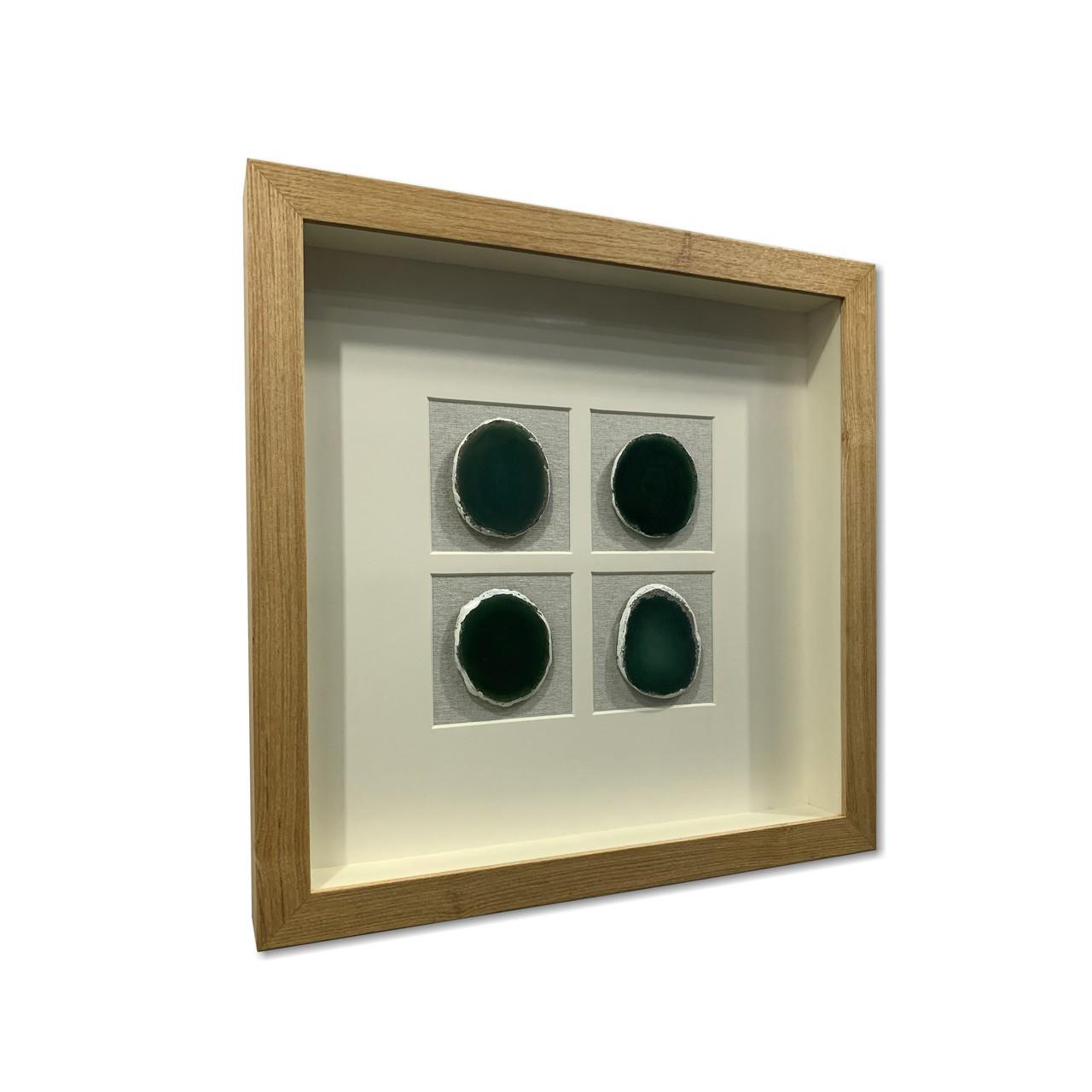Quadro Decor Minimalista Quarteto em Pedras Ágata Verde