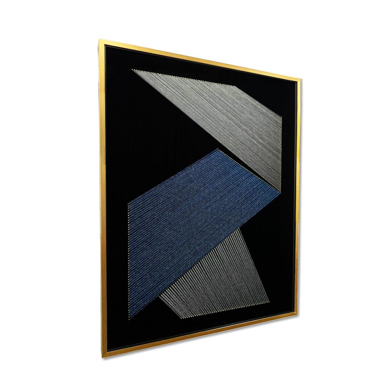 Quadro Decor Origami em Linhas Azuis