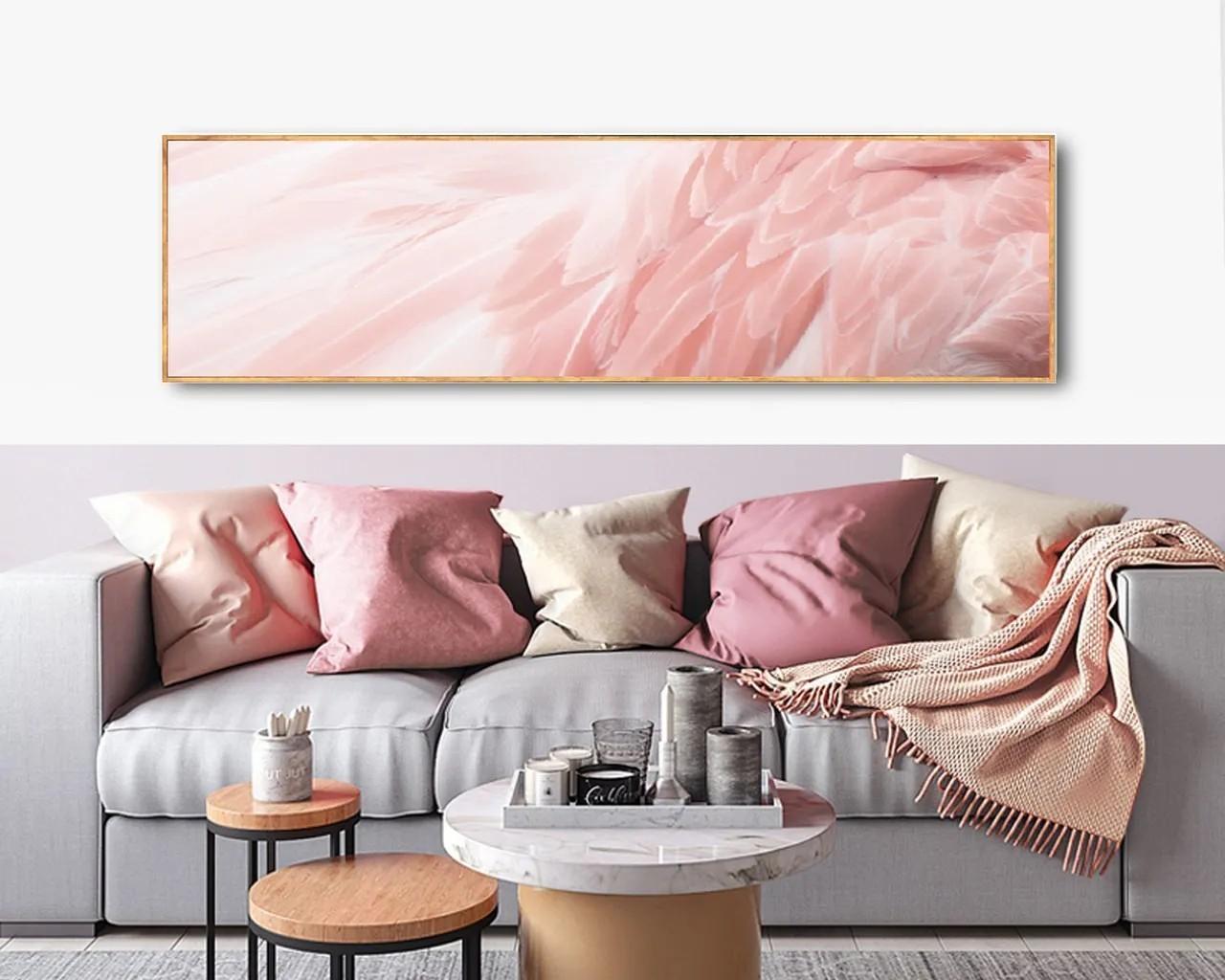 Quadro Decor Plumagem rosa