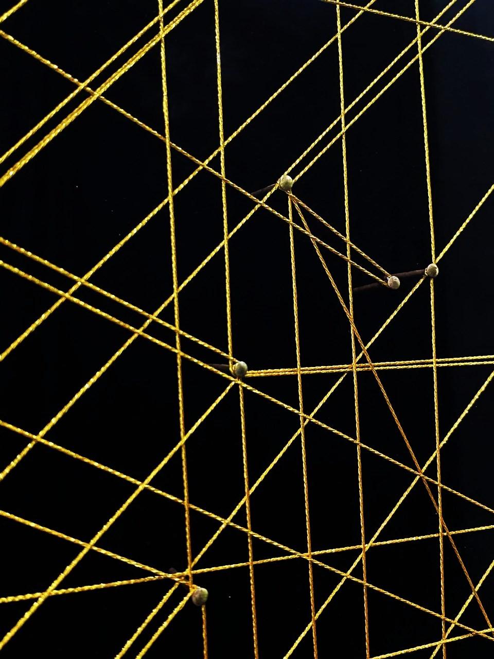 Quadro Decor Rabiscos em Linhas Amarelas