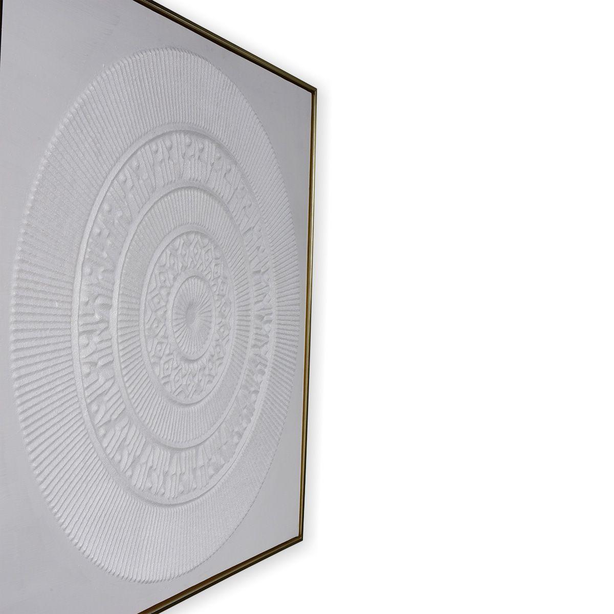 Quadro Decor Mandala Relevo Branco