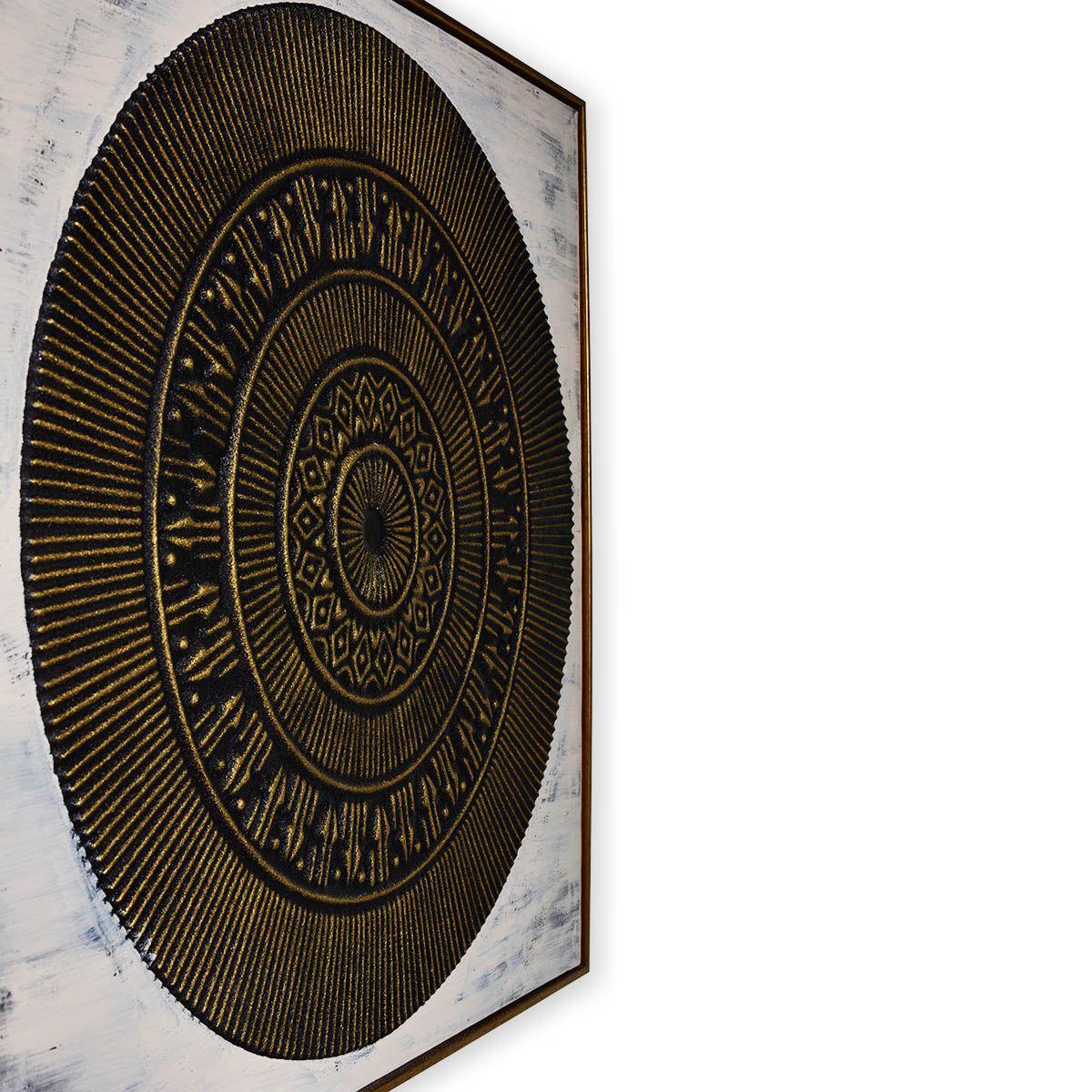 Quadro Decor Mandala Relevo Dourado
