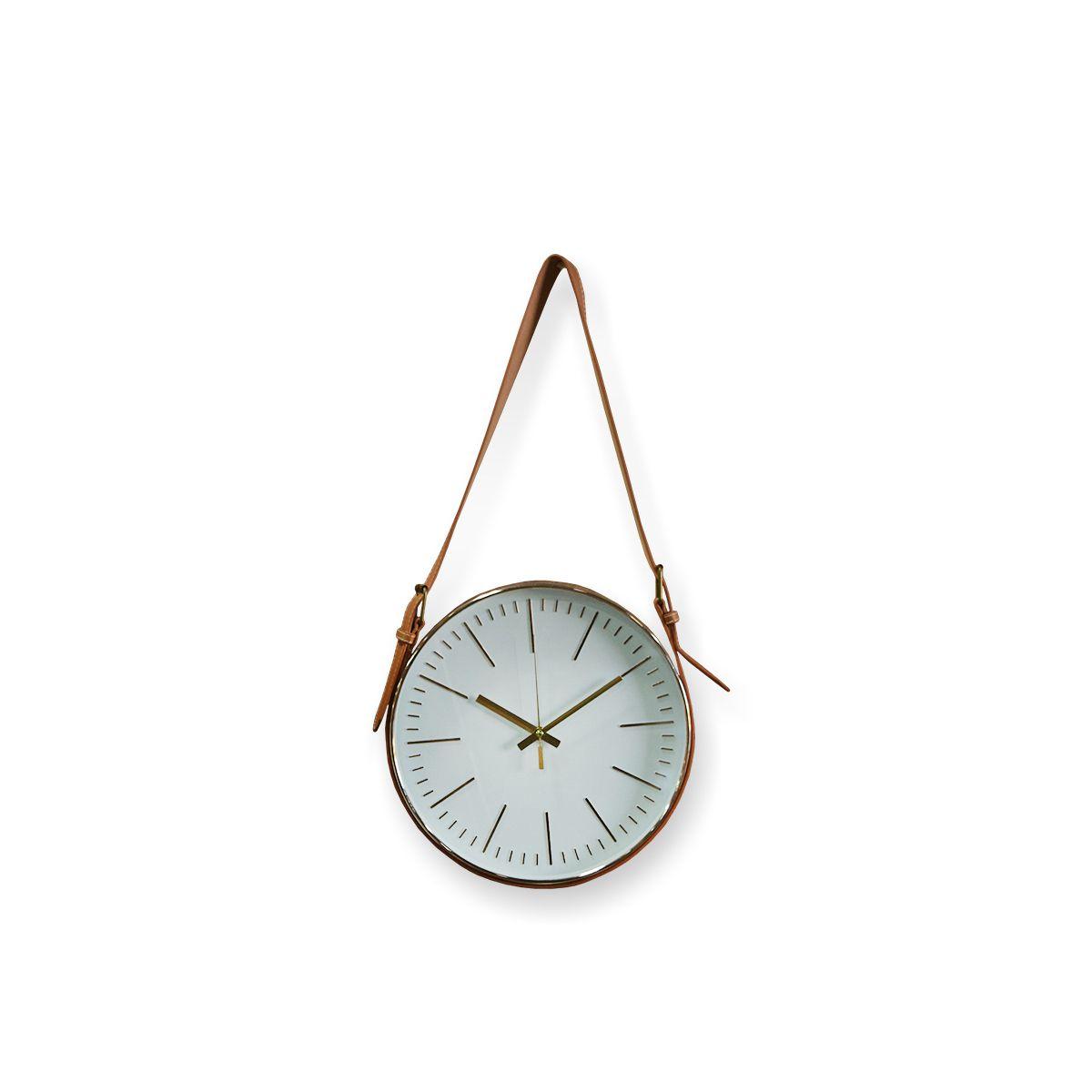 Relógio De Parede Branco Com Alça Sintetica Marrom