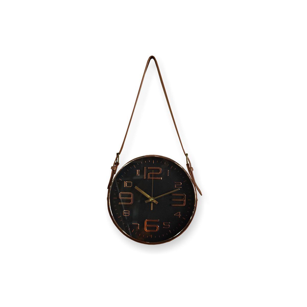 Relógio De Parede Preto Com Alça Sintetica Marrom