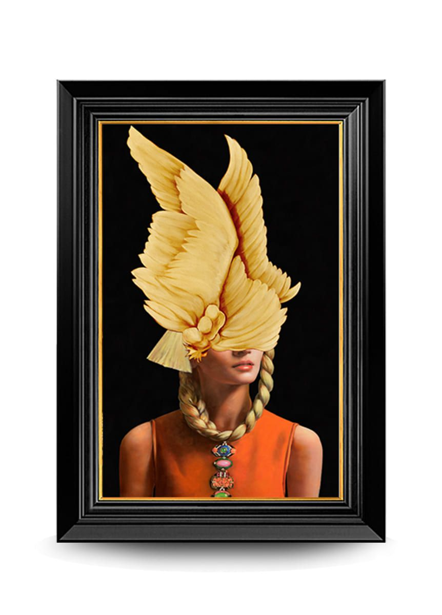 Quadro Decor A Dama e As Asas Douradas