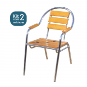 Kit 02 Cadeiras/Poltronas em Madeira e Alumínio Curva CMAC44