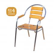 Kit 04 Cadeiras/Poltronas em Madeira e Alumínio Curva CMAC44
