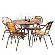 Conjunto Mesa com 4 Cadeiras em Alumínio e Madeira - CJMC108.P