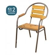 Kit 02 Cadeiras/Poltronas em Madeira e Alumínio Curva CMAC44M