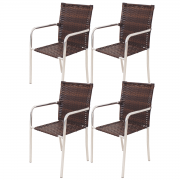 Kit 04 Cadeiras em Alumínio e Fibra Sintética 10mm KCR03.C
