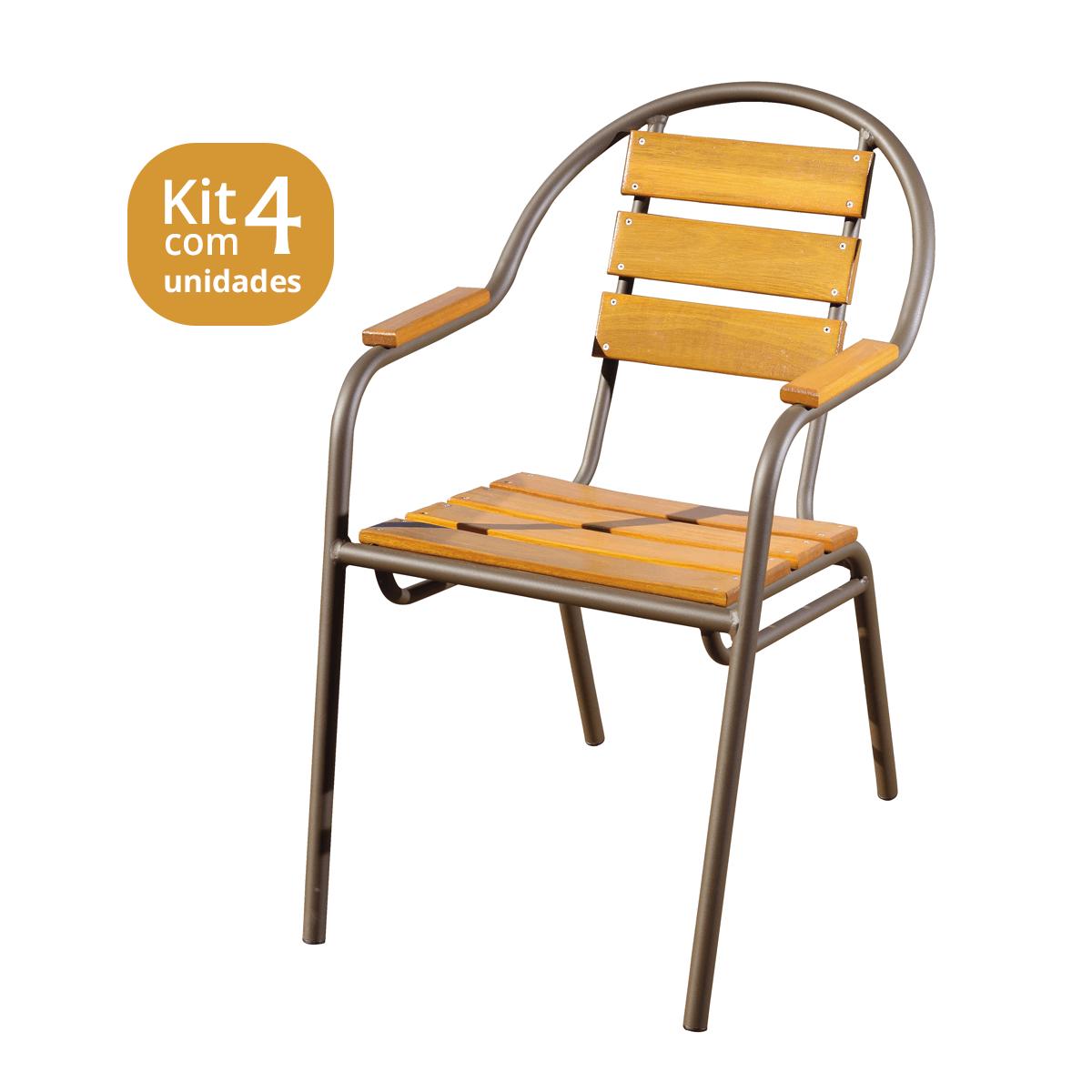 Kit 04 Cadeiras/Poltronas em Madeira e Alumínio Pintado CMAC44M