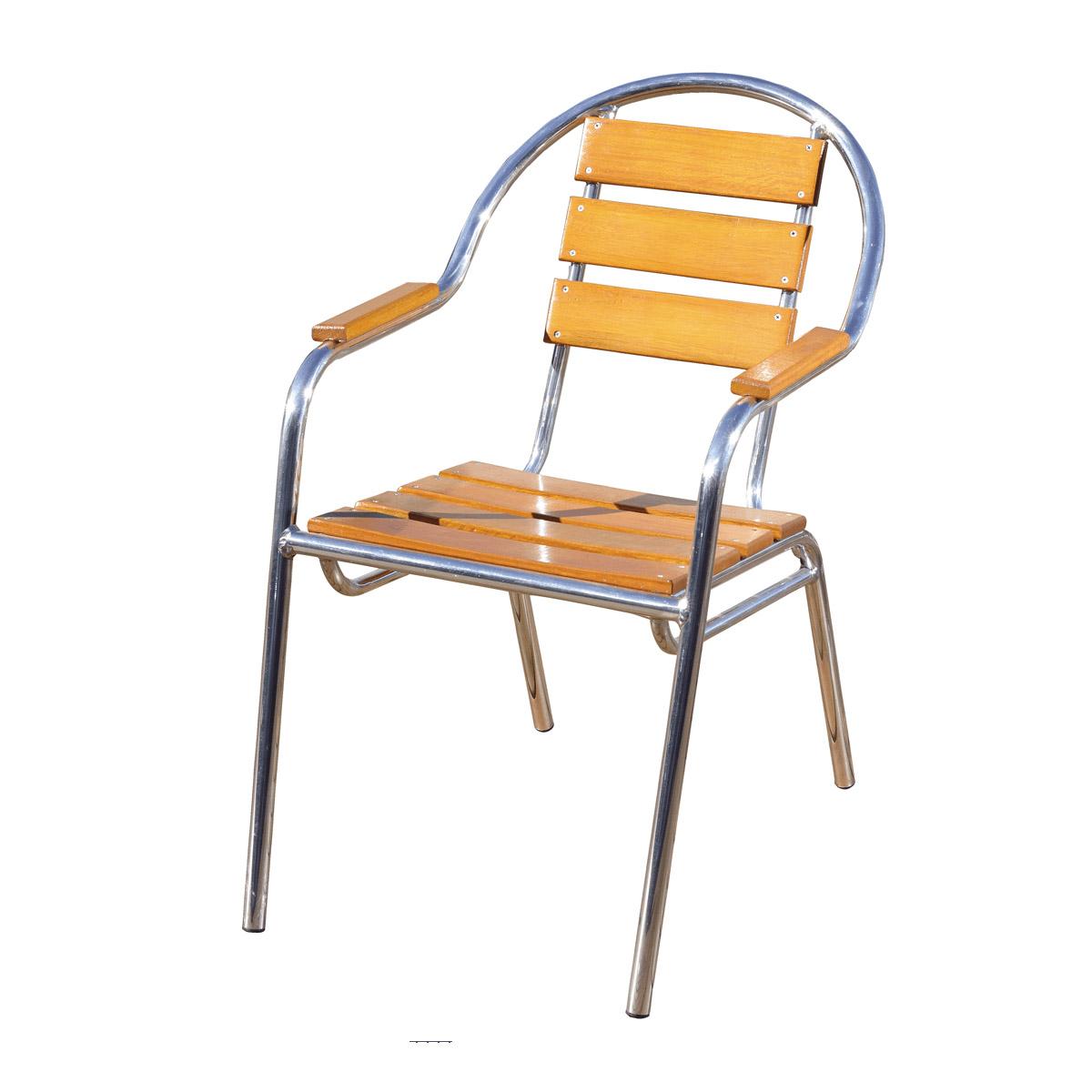 Cadeira em madeira e alumínio polido - CMAC44