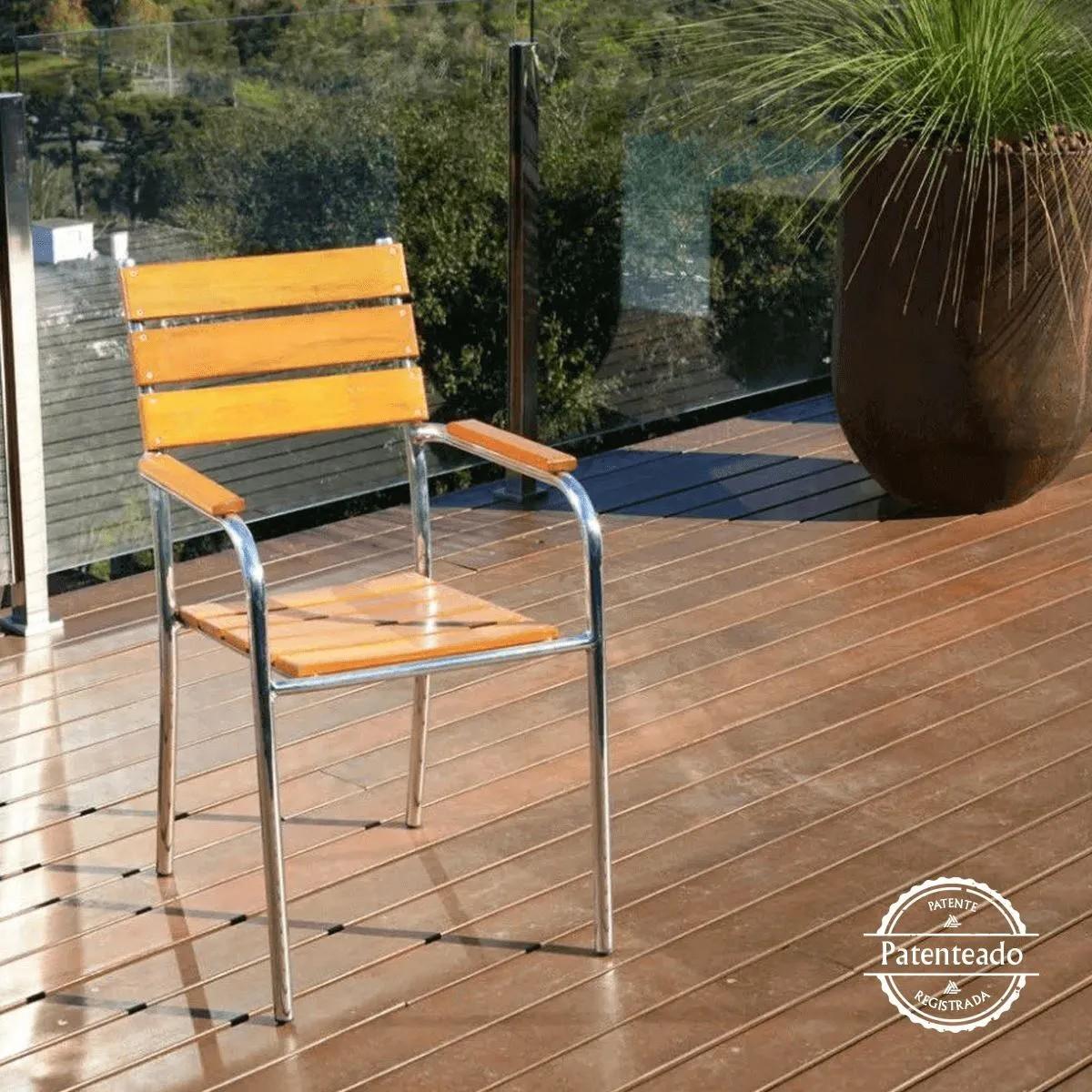 Cadeira / Poltrona em Madeira e Alumínio Reta CMAR44