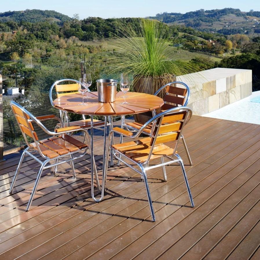 Conjunto Mesa e 04 Cadeiras em Alumínio e Madeira (com ombrelone) - CJMC108-OMB