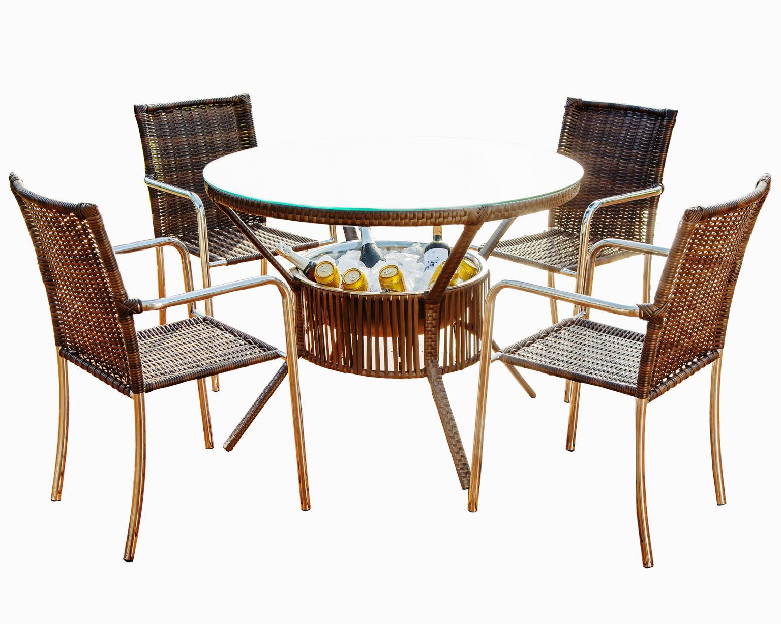 Conjunto Mesa com 4 Cadeiras em Alumínio e Fibra Sintética| CJMR102.05.C