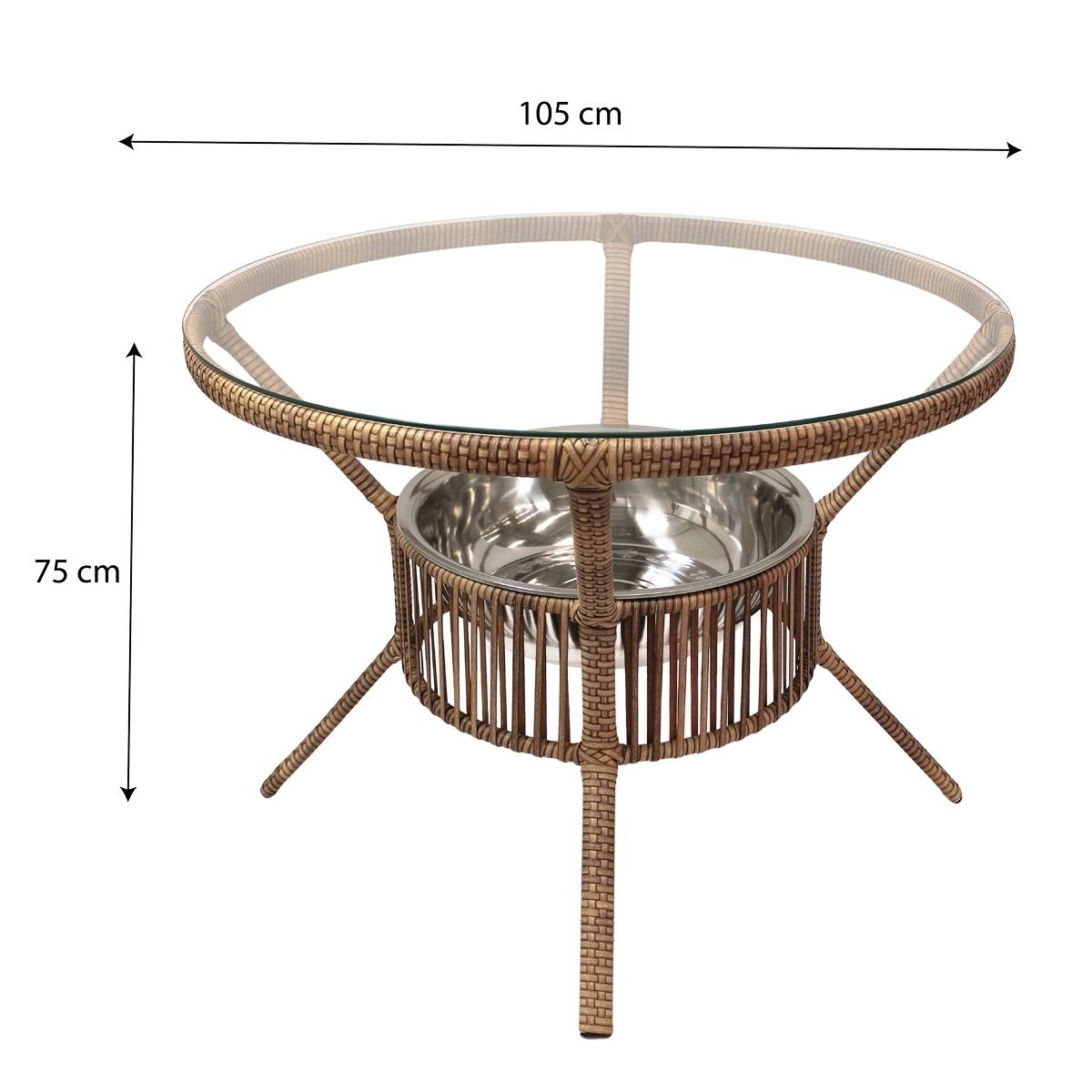 Conjunto Mesa com 4 Cadeiras em Alumínio e Fibra Sintética| CJMR102.05.CE